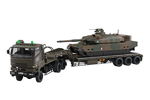 Aoshima 54321 RC AFV Series No. 16 JGSDF Type 10 Tank w/Type 73 Extra Large Semi-trailer Truck 1/72 scale kit