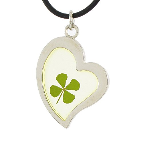 Genuine Four-leaf Lucky Clover Crystal Amber Necklace, Clear Heart for Love! (Amber Clear Crystal)