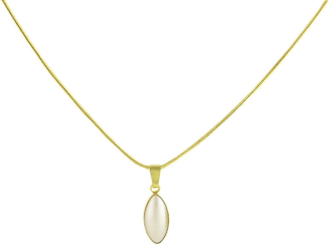 Oro 24K Chapado Oval de Pétalos de Flores Minimalista Colgante, Collar de Serpiente de la Cadena de 42cm de Crema de Perla de Cristal checo de Piedra Hechos a Mano BohemStyle