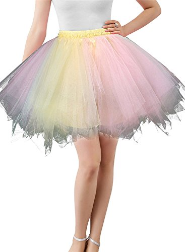 BIFINI Adult Women 80's Plus Size Tutu Skirt Layered Tulle Petticoat Halloween Tutu Pink/Yellow]()