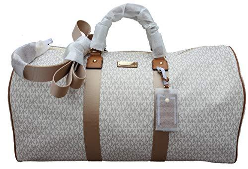 (Michael Kors Michael Kors Leather PVC Travel Logo Duffle Large Bag Printed Duffel Luggage vanilla brown)