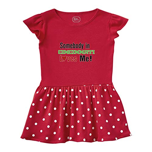 Somebody in Cincinnati Loves Me! Short Sleeve Taped Neck Girl Cotton Toddler Rib Dress School Clothes - Red, 3T