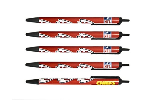 NFL Kansas City Chiefs Disposable Black Ink Click Pens, 5-Pack -
