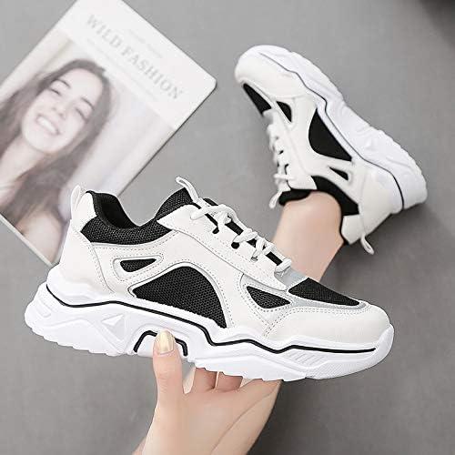 Zapatillas de Deporte de Mujer Air Mesh Zapatillas de Deporte de Fondo Grueso para Mujer Zapatillas de Deporte Planas con Cordones Antideslizantes Calzado Deportivo Transpirable para Exteriores