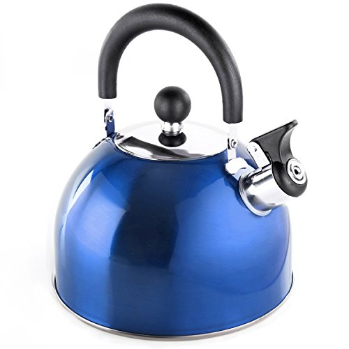 2,5 Liter Pfeifkessel Flötenkessel aus Edelstahl in verschiedenen Farben Teekanne Wasserkessel (Blau)
