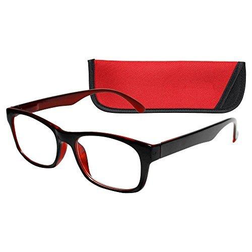 ICU Eyewear Wink Reading Glasses Red Black With Case