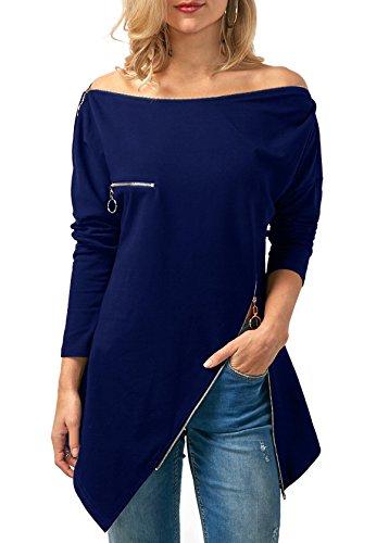 T Automne Zippe Tunique Irregulier Bleu Col Tops Chic et Tee Fashion Blouse Femme Printemps Jumper Shirt Haut Pulls Bateau Chemisiers Legendaryman Longues Manches fqw7EYxzA