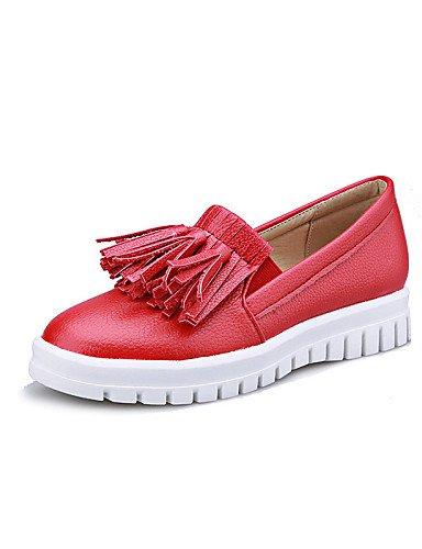 Plataforma 5 red cn43 eu42 de 5 ZQ 10 Zapatos Rojo Negro Exterior eu42 Blanco us10 Redonda Punta Semicuero Vestido Casual red 5 Mocasines white gyht 5 5 8 cn42 us9 mujer us10 uk8 uk7 eu41 Plataforma BwB1Iaq