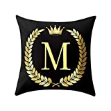 KESEELY 45x45 cm English Letter Pillow Cover Black and Gold Pillowcase Sofa Home Decor