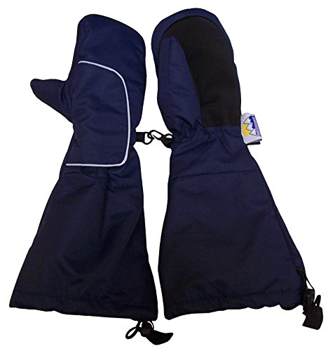 N'Ice Caps Kids Thinsulate Waterproof Velcro Wrap Elbow Length Cuff Mittens (4-6yrs, Navy) (Youth Ski Mitten)