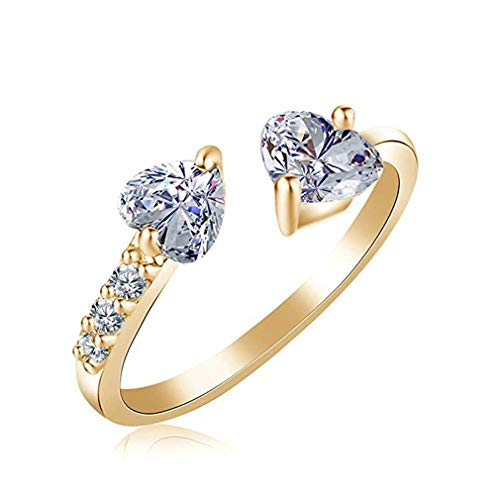 - Windoson Stylish Zircon Ladies Ring Elegant Double Heart Crystal Open Ring Wedding Jewelry for Women Stocking Filler-It Can Be Adjustable (Gold)