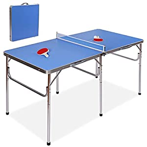 Goplus 60″ Portable Tennis Table, Folding Ping Pong Table Game Set with Net, 2 Table Tennis Paddles and 2 Ping Pong Balls for Indoor/Outdoor Use