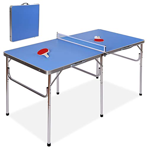 """Goplus 60"""" Portable Tennis Table, Folding Ping Pong Table Game Set with Net, 2 Table Tennis Paddles and 2 Ping Pong Balls for Indoor/Outdoor Use"""