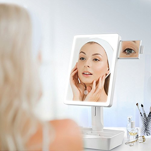Jerrybox Makeup Vanity Mirror with LED Lights Cosmetic Mirror with Touch Screen, Dual Power Supply,180° Adjustable Rotation 5X Magnification Mirror (Full-Frame) by Jerrybox