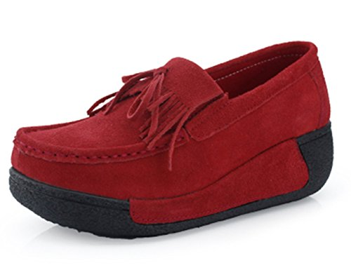 GFONE Women's Breathable Tassels Bow-knot Suede Wedge Platform Loafers Fitness Sneakers Casual Running Shoes Slip On Red pugUh