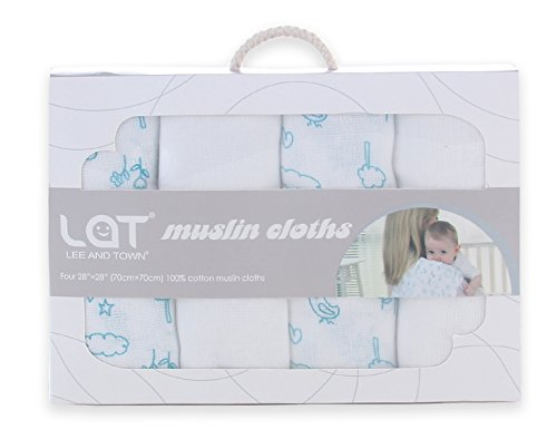 Lat Cotton Muslin Bath Towel for Baby Sensitive Skin Cloth Diapers Wipes Washable 4-Pack 28''x 28'' 28' Insert