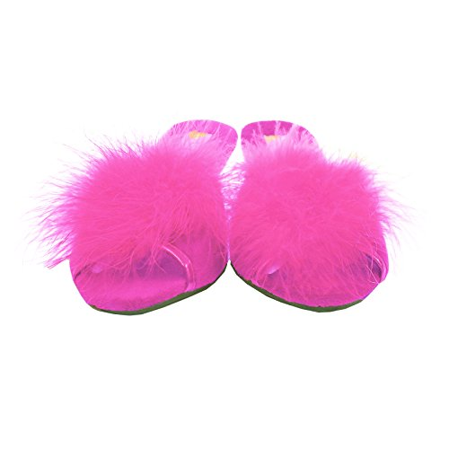 Dunlop Ladies Famous Marilyn Boa Jewelled Wedge Heel Mule Slippers Fuchsia 4LB1fPr4L