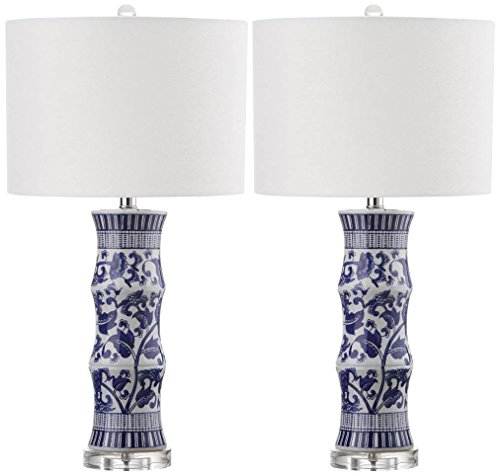 (Safavieh Lighting Collection Sandy White and Blue 28.5-inch Table Lamp (Set of 2))
