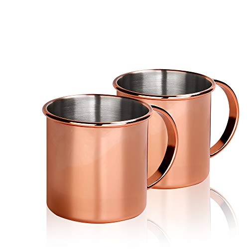 JOEVER Copper Coffee Mugs Stainless Steel Beer Mug with Handle Set of 2 Tea Cup 18oz Ideal for Hot & Cold Drinks (Mug Stainless Steel Set)