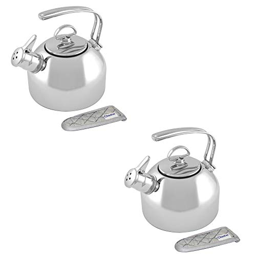 Chantal Classic 1.8 Quart Stainless Steel Harmonica Whistling Water Teakettle (2 Pack)