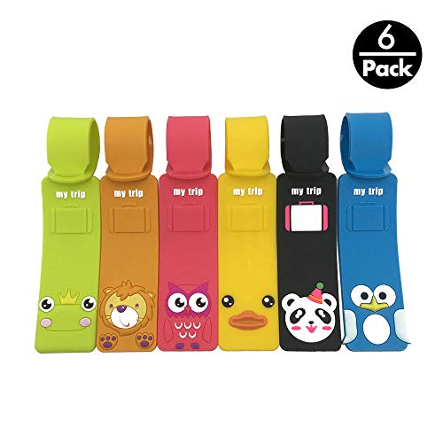 Set of 6 Cute Animals Luggage Tags, Colorful Silicone Travel Suitcase Bag ()