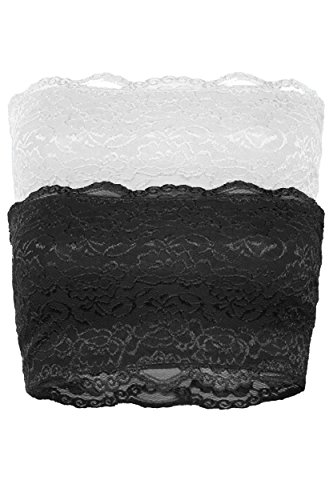 TOP LEGGING TL Women's Full Floral Lace Strapless Seamless Stretchy Bandeau Tube Bra Top79 White_Black L
