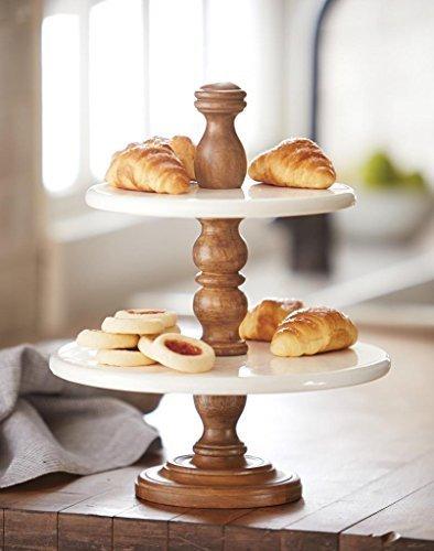 Mud Pie 4721005 2-Tier Enamel Pedestal Stand Food Display, Brown