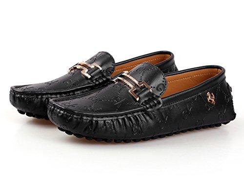 Loafers Zapatos De Hombre Casual Zapatillas Planos On Conducción Negocio Mocasines Cuero Moda Stutio Negro Sk Slip ScY1vfBp