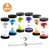 DARUNAXY 6 Pack Sand Timer Colorful Hourglass Sandglass Timer 1 min/3 mins/5 mins/10 mins/15 mins/30 mins Sand Clock Timer for Games Classroom Home Office with 2 Unicorn Bracelets Wristbands