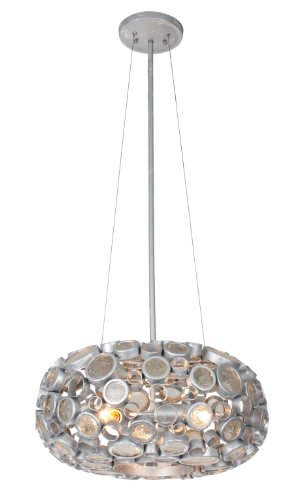 Varaluz 165C03SNV Fascination Collection 3-Light Chandelier, Nevada Finish with Recycled Clear Glass Discs, 18
