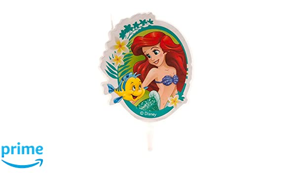 Dekora-346222 Ariel, Flounder Vela de Cumpleaños en 2D de La Sirenita, Color verde (346222