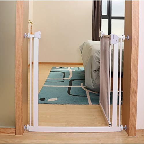 Child safety gates Pet Gate for Stairs Banister, 75cm High, Extra Wide Walk Through with Expansion, Pressure Mount Kit, White (Size : 106-113cm)