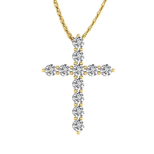 14k Yellow Gold Diamond Necklace (IGI Certified 14K Yellow Gold Cross Diamond Pendant Necklace (1/2 Carat))