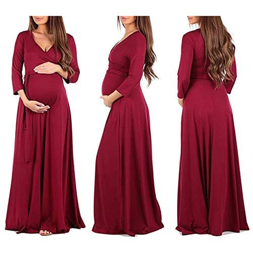 653cdb8aa1ea Donna 4 Premaman Casuale Lungo Chic Rosso La 3 neck V Ragazza Colori  Vestito Manica Lunga Eleganti Fashion Gravidanza ...