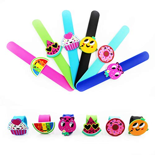 (Amosfun 6pcs Children Slap Bracelet Soft Fruit Wristbands Decoration Silicone Bracelet for Gifts Birthday Party and School Rewards Tropical Party Decoration Assorted Pattern)
