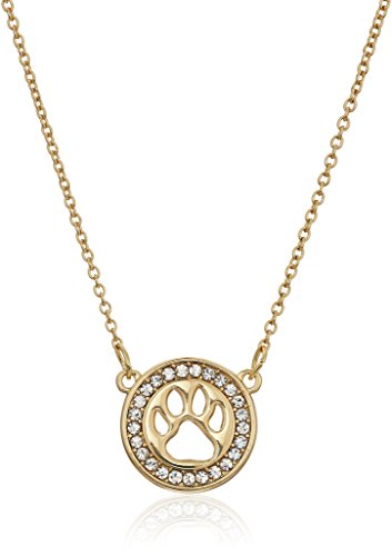 Pet Friends Goldtone/Crystal Paw Pendant Necklace, Gold (Crystals Gold Pet)