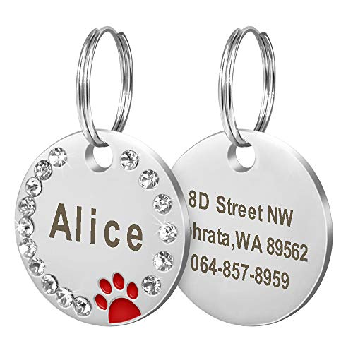 Didog Stainless Steel Custom Engraved Pet ID Tags,Round Crys