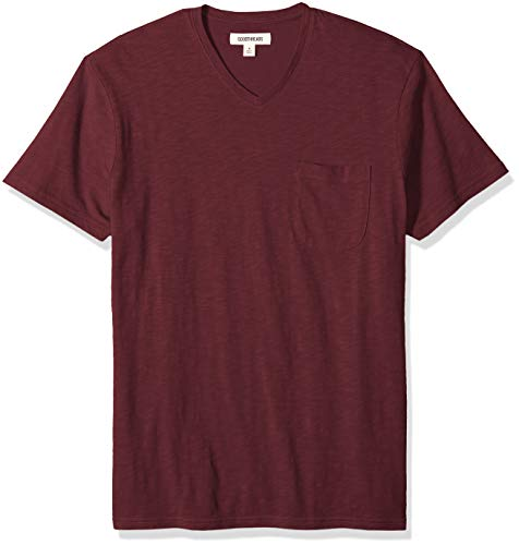 Goodthreads Men's Lightweight Slub V-Neck Pocket T-Shirt, Burgundy, Medium ()