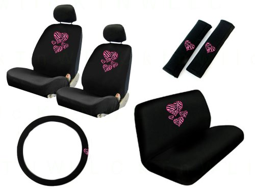 11 Pieces Auto Seat Covers Gift Set: 2 Low Back Front Bucket Seat Covers with Separate Headrest Cover, 1 Steering Wheel Cover, 2 Shoulder Harness Pressure Relief Cover, and 1 Bench Cover - Love Hearts Zebra Pink - Plain Pink Car Seat Covers