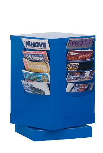 Durham 409-10 Blue Cold Rolled Steel 20 Pocket Rotary Literature Rack, 14-1/8
