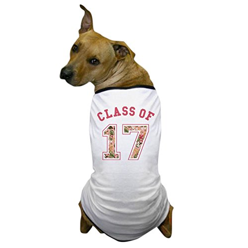 CafePress - Class Of 17 Floral Pink - Dog T-Shirt, Pet Clothing, Funny Dog Costume (Dog Graduation Costume)