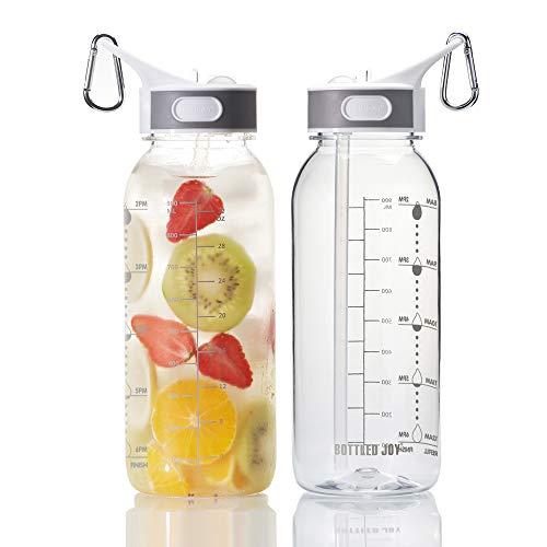 🥇 BOTTLED JOY 32oz Water Bottle with Straw