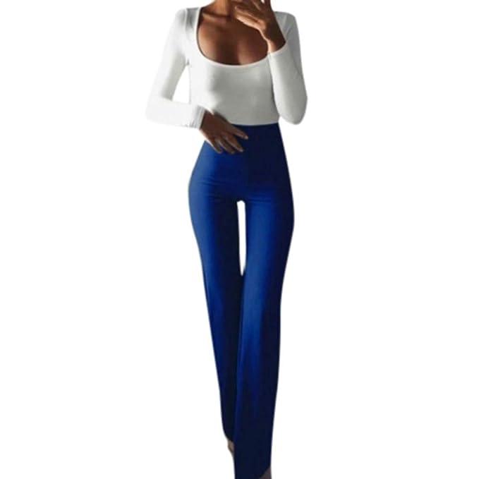 c42bf5a73c9bf Pantalones Anchos Marlene para Mujer Otoño Invierno 2018 Moda PAOLIAN  Casual Pantalones Acampanados Ajustado Cintura Alta Fiesta Palazzo Pantalon  Fluido ...