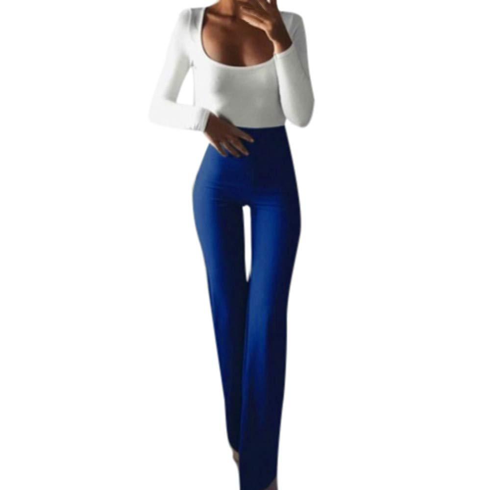 Women Wide Leg Pants,Jchen(TM) Fashion Women Solid Color High Waist Slim Elasticity Leggings Bell-Bottoms Pants (S, Blue)