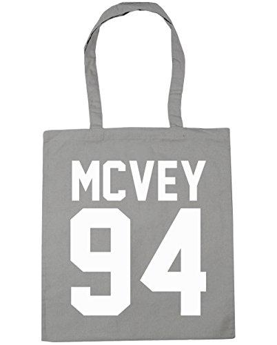 HippoWarehouse McVey 94(impreso en papel de la parte trasera) bolso de compras bolsa de gimnasio playa 42cm x38cm, 10litros gris claro
