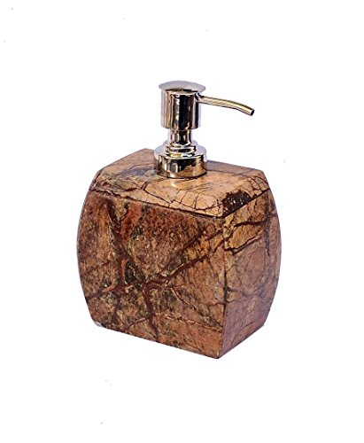Stone Made Natural Stone Liquid Soap Dispenser by-Wigano.Stone Soap Dispenser with Chrome Polish Pump Ideal for Room Bathroom, Luxury Hotel Bathroom (Chrome Natural Soap Dispenser)
