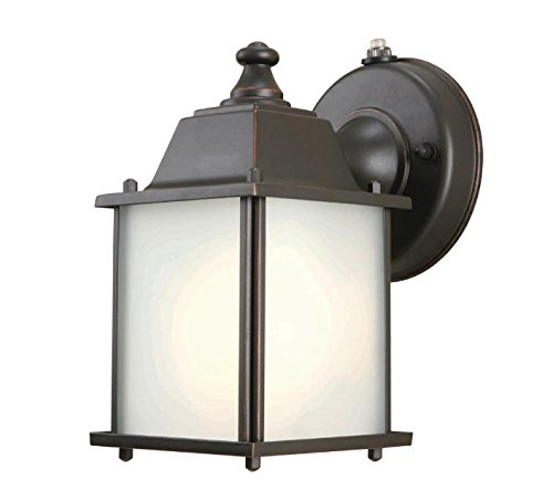 Hampton Bay Oil Rubbed Bronze 1-Light Outdoor Dusk-to-Dawn Lantern ...
