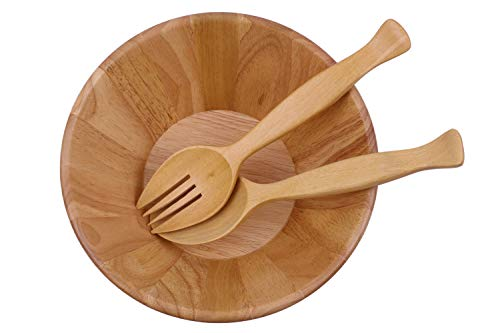 Wooden salad bowl with big spoon and fork for cook,10
