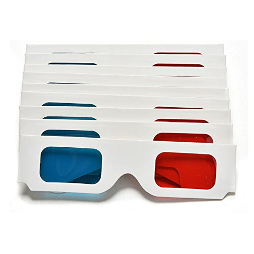 Toyofmine 10pcs Paper Red Blue Cyan Folded Cardboard 3D Glasses For Movie