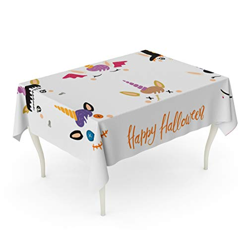 Tarolo Rectangle Tablecloth 60 x 84 Inch Orange Animal Halloween Cute Unicorn Faces Witch Vampire Zombie Frankenstein Devil Flat for Children Party Bat Table Cloth -